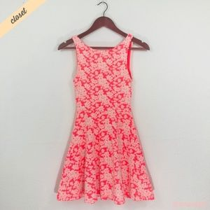 [H&M] Neon Pink/White Floral Skater Dress